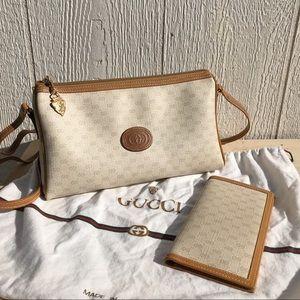 Vintage Monogram Gucci Crossbody and Wallet Set